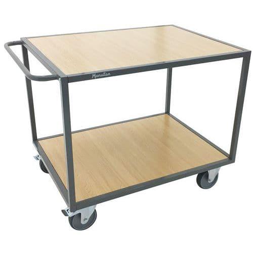 Tafelwagen met 2 houten plateaus - Horizontale duwbeugel - Draagvermogen 500 kg - Manutan
