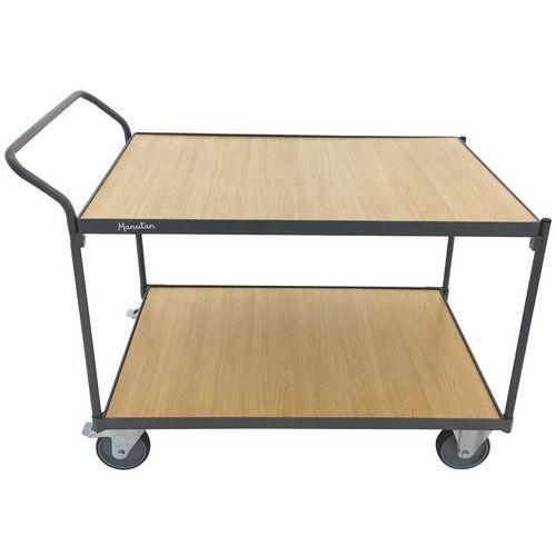 Plateauwagen 2 houten plateaus - Draagvermogen 250kg - Verticale stang - Manutan