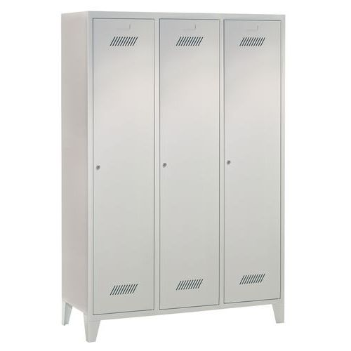 Garderobekast Medium 400 - Op sokkel - Schone industrie - Cilinderslot - 3 kolommen