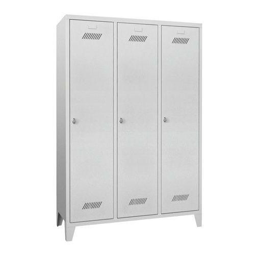 Garderobekast Medium 400 - Op poten - Schone industrie - Hangslothouder - 3 kolommen