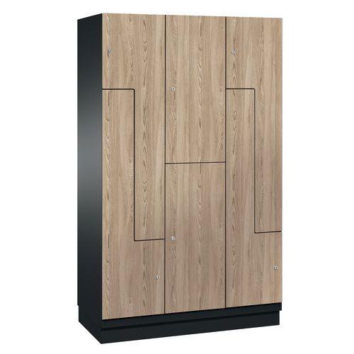 Garderobekast met deur L hout - 6 vakken breedte 300 en 400 mm - Op voet