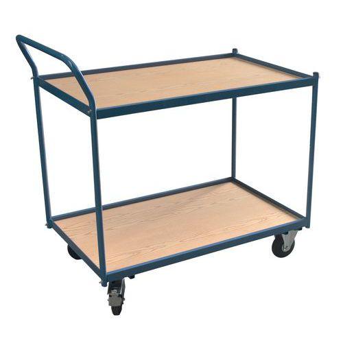Werkplaatswagen 2 plateaus - Verticale stang - Laadvermogen 250 kg