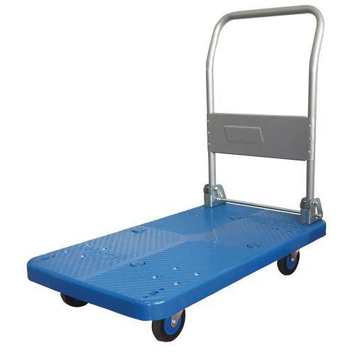 Kunststof wagen met neerklapbare steun - draagvermogen 200 kg