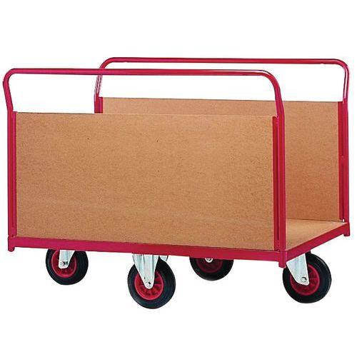 Plateauwagen met houten wanden en wielen in ruitvorm - Draagvermogen 500 kg - 2 zijpanelen