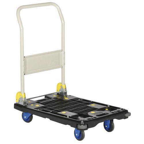Plateauwagen kunststof met neerklapbare steun - draagvermogen 200 kg