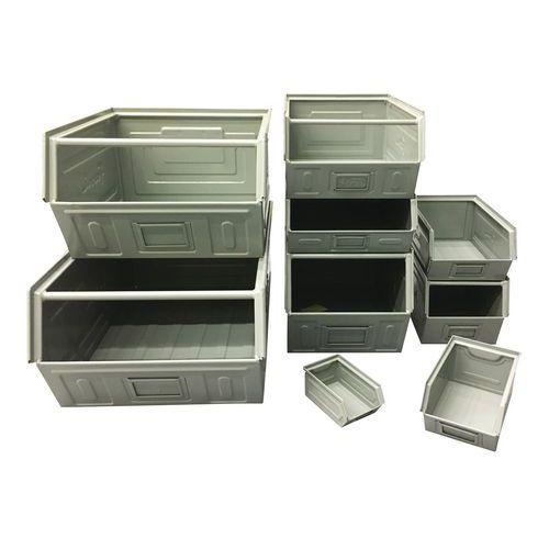 Metalen stapelbak - Model grijs gelakt - Lengte 160 tot 350 mm