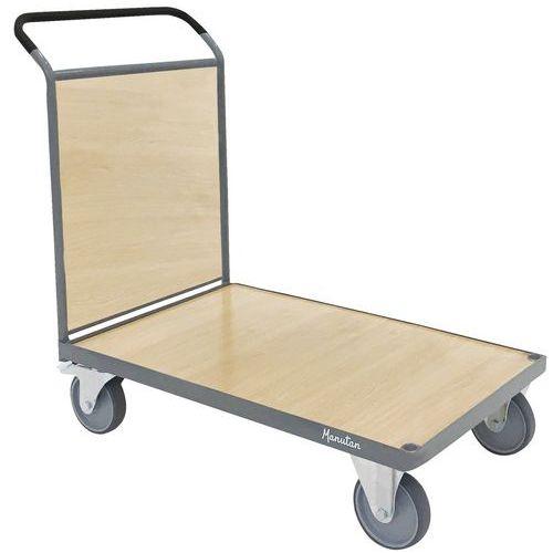 Plateauwagen met houten paneel - 1 duwbeugel - draagvermogen 500 kg - Manutan
