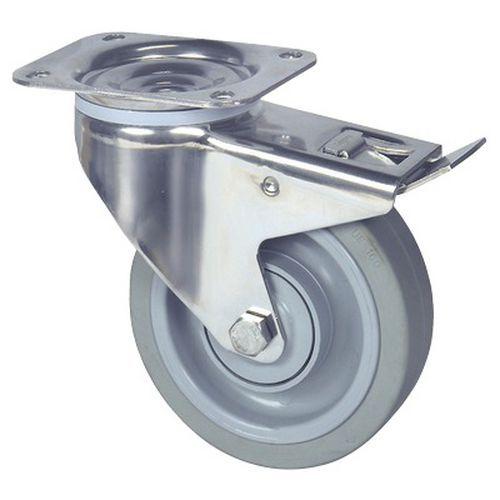 Zwenkwiel met plaat en rem - draagvermogen 160 tot 400 kg