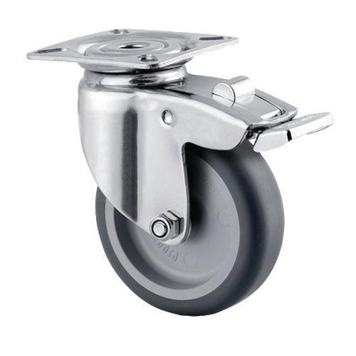 Zwenkwiel met plaat en rem - draagvermogen 60 kg