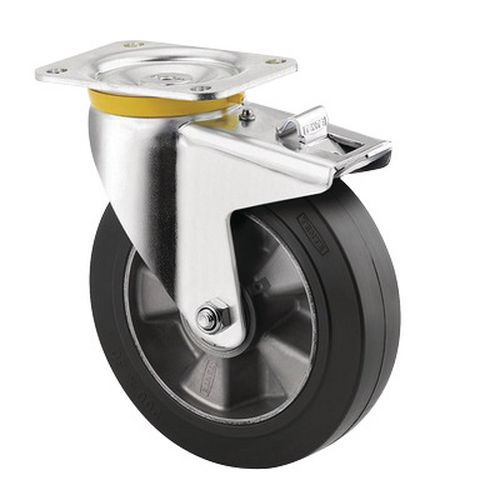 Zwenkwiel met plaat en rem - draagvermogen 300 tot 500 kg