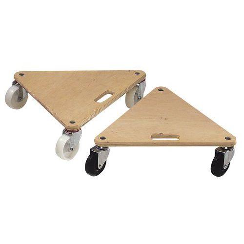 Driehoekige houten dolly - Ruwe afwerking - Draagvermogen 225 en 300 kg