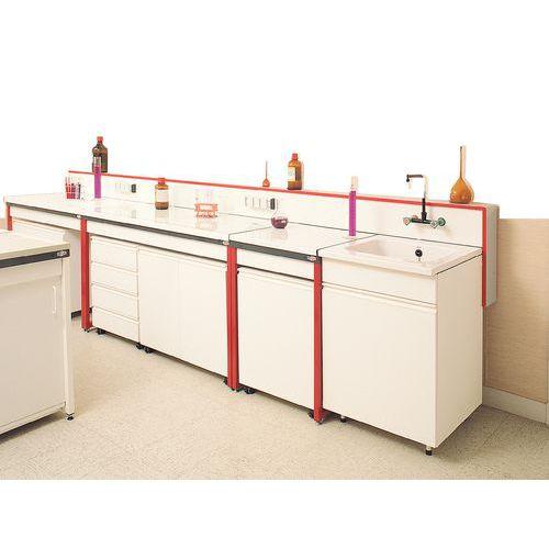 Modulaire laboratoriumtafel - Geëmailleerd glas - Zonder muurplaat