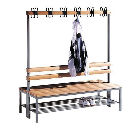 Bank met kapstok hout CP - 8 tot 16 kledinghaken - Dubbelzijdig - Met schoenenrek