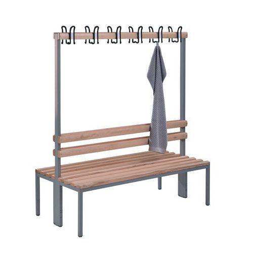Bank met kapstok hout CP - 8 tot 16 kledinghaken - Dubbelzijdig