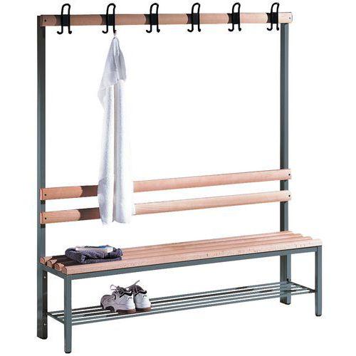 Bank met kapstok hout CP - 4 tot 8 kledinghaken - Enkelzijdig - Met schoenenrek