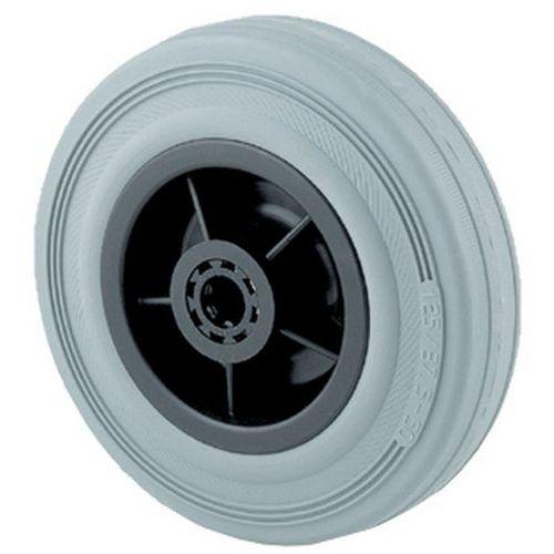 Transportwiel met semi-elastische, grijze rubberen band en velg van polypropyleen