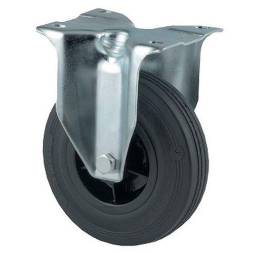 Bokwiel met zwarte, massief rubberen band en polypropyleen velg