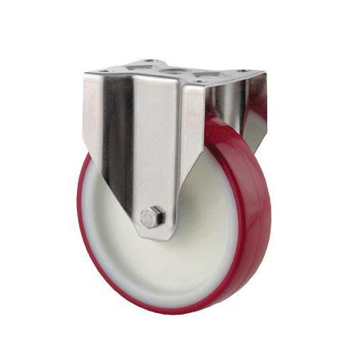 Bokwiel van nylon met polyurethaan loopvlak en roestvrijstalen gaffel