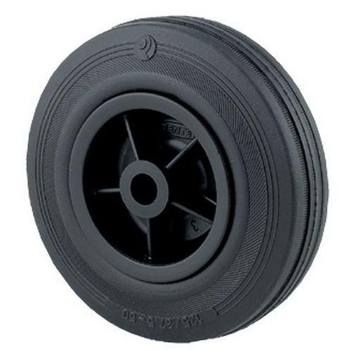 Transportwiel met zwarte, massief rubberen band en polypropyleen velg