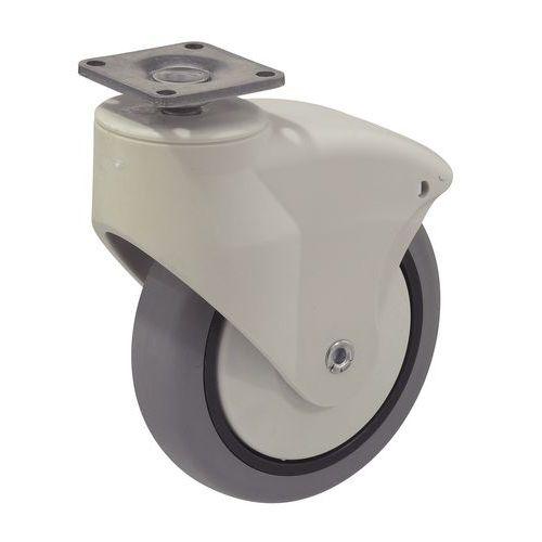 Zwenkwiel met rubberen loopvlak - Draagvermogen 70 kg - Grondplaat