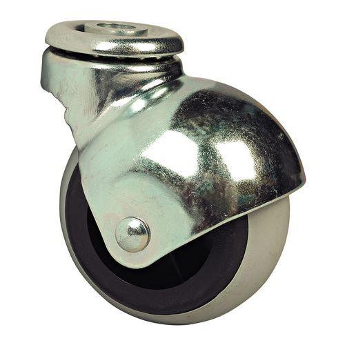 Bolvormig zwenkwiel - Draagvermogen van 20 tot 25 kg - Boutgat