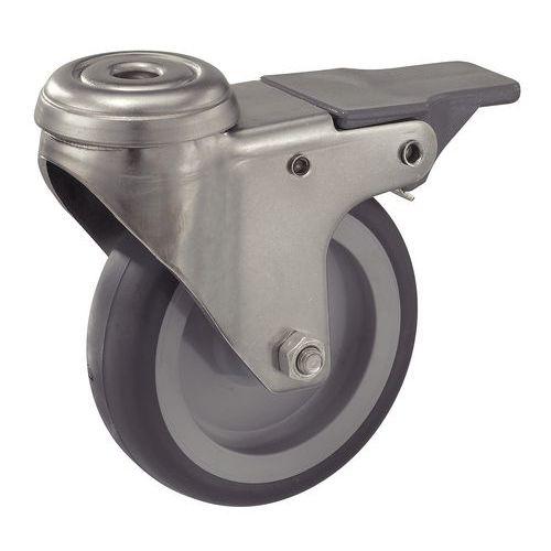 Zwenkwiel met rem in roestvrij staal - Draagvermogen 50 tot 75 kg
