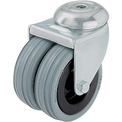 Afbeelding van Gekoppeld wiel met boutgat - draagvermogen 70 tot 100 kg - zwenkwiel