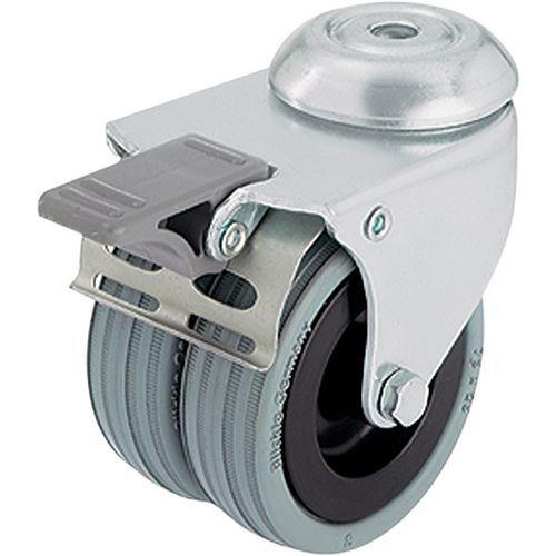 Afbeelding van Gekoppeld wiel met boutgat - draagvermogen 70 tot 100 kg - geremd zwenkwiel