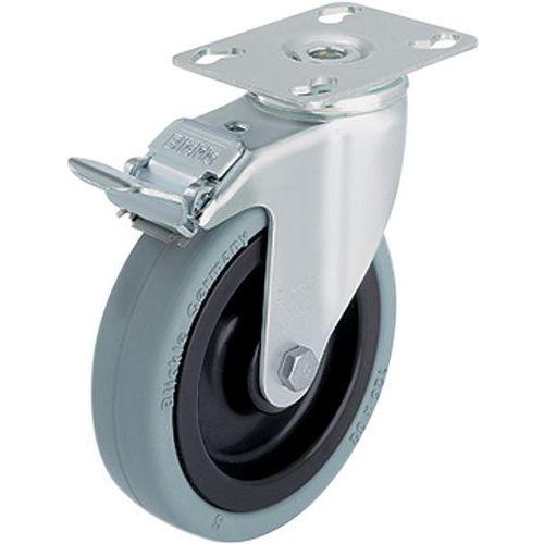 Zwenkwiel geremd met grondplaat - Draagvermogen van 60 tot 110 kg