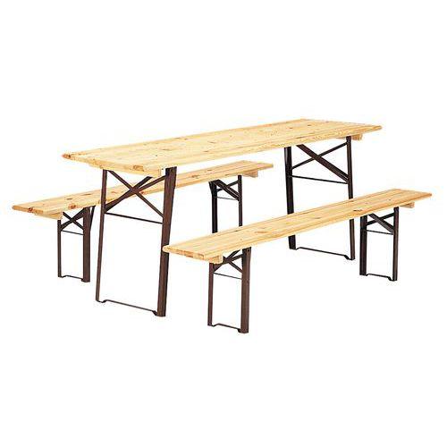 Set houten klaptafel en klapbanken manutan - Houten chalet leroy merlin ...