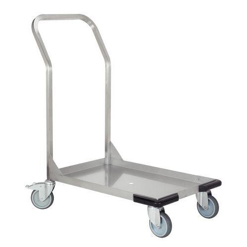 Plateauwagen rvs met 1 vaste duwbeugel - Laadvermogen 120 kg