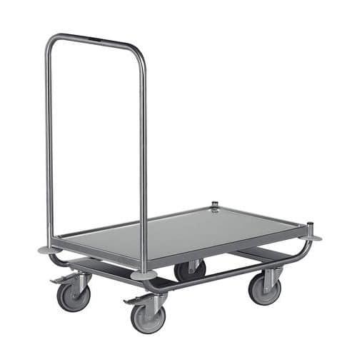 Platformwagen rvs met 1 vaste duwbeugel - Laadvermogen 120 kg