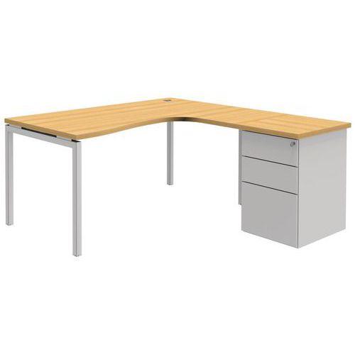 Compact bureau met ladeblok open beuken wit open manutan for Ladeblok bureel
