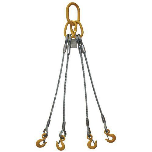 Hijsband van staalkabel met 4 strengen (E4) - Hefvermogen 700 kg tot 9100 kg