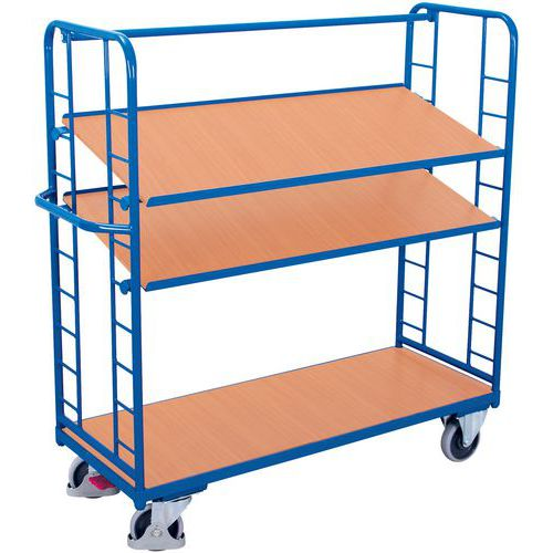 Ergonomische, hoge wagen met 3 houten plateaus - Draagvermogen 500kg