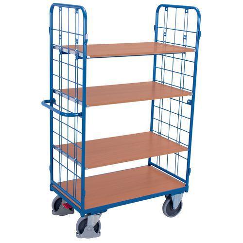 Ergonomische, hoge wagen met 4 houten plateaus - Draagvermogen 500kg