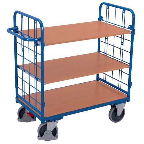 Wagen met 3 houten plateaus - Verticale duwbeugel - Draagvermogen 500kg