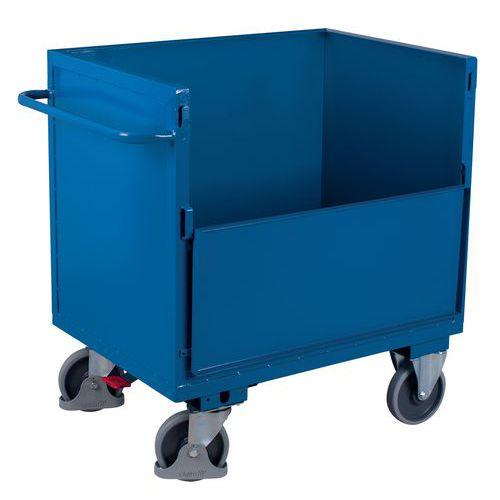 Ergonomische, stalen wagen zonder deksel - 1 wand 1/2 neerklapbaar - 500kg