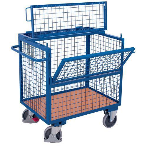 Ergonomische wagen met kist staal - 1 wand 1/2 neerklapbaar - Draagvermogen 500kg