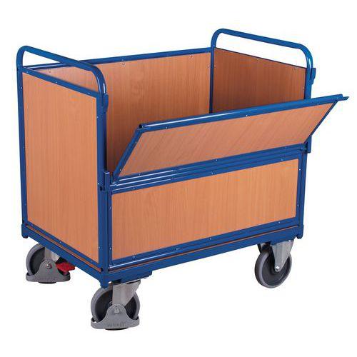 Ergonomische houten wagen zonder deksel - 1 wand 1/2 neerklapbaar - 500kg