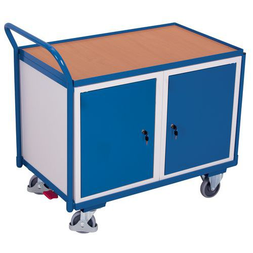 Ergonomische wagen met 2 kasten - 1 houten plateau - Draagvermogen 250kg
