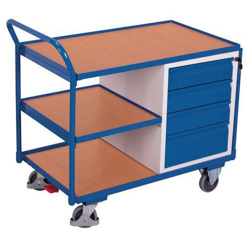 Ergonomische wagen met 3 houten plateaus en ladeblok - Draagvermogen 250 kg