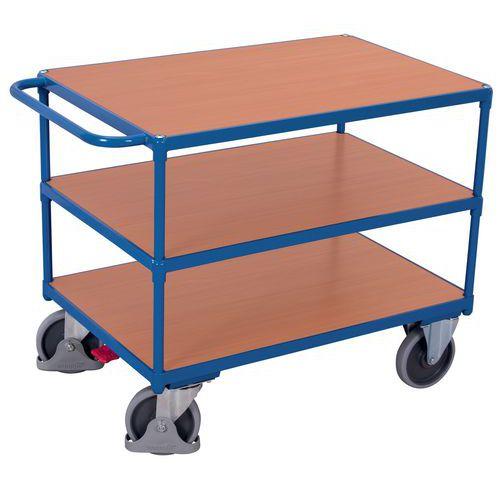 Ergonomische wagen met 3 houten plateaus - Horizontale duwbeugel - Draagvermogen 500 kg