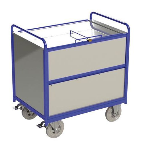 Wagen met kast, gegalvaniseerd staal - 2 neerklapbare wanden - 500 kg