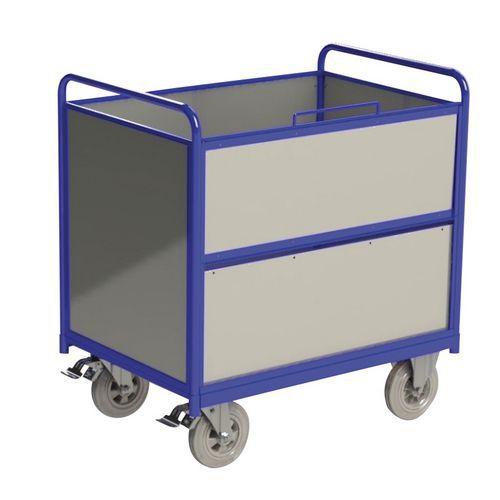 Wagen met kast, gegalvaniseerd staal - Draagvermogen 500 kg