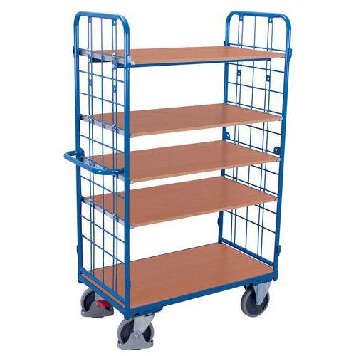 Ergonomische, hoge wagen met 5 houten plateaus - Draagvermogen 500kg