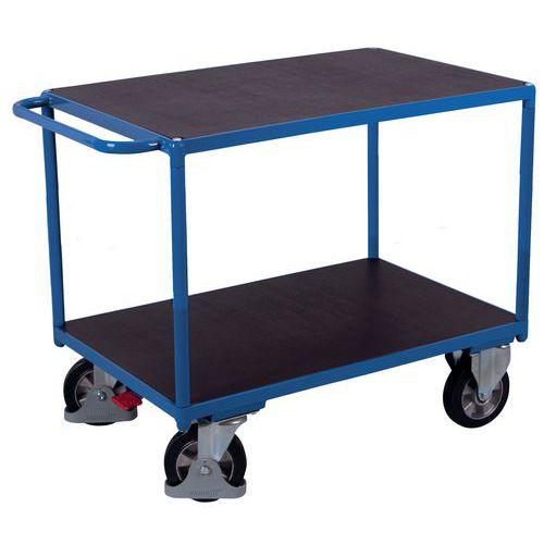 Ergonomische wagen met 3 houten plateaus - Verticale duwbeugel - Draagvermogen 250kg