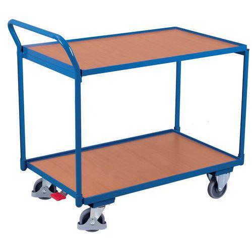 Ergonomische wagen met 2 houten plateaus - Verticale duwbeugel - Draagvermogen 250 kg
