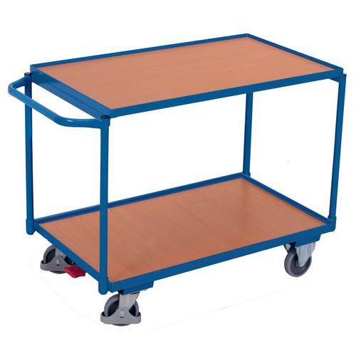 Ergonomische wagen met 2 houten plateaus - Horizontale duwbeugel - Draagvermogen 250kg