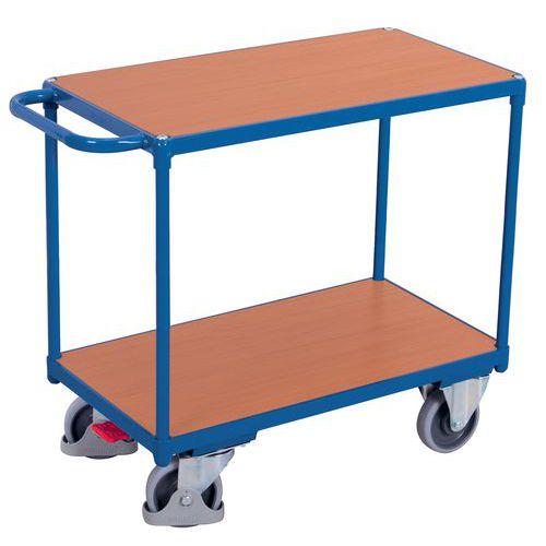 Ergonomische wagen met 2 houten plateaus - Horizontale duwbeugel - Draagvermogen 500kg